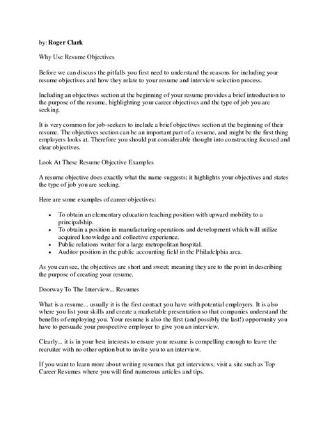 Resume Teaching Objective Resume Objective Examples  Httpwww.resumecareerresume .