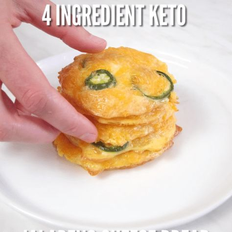 4 Ingredient Keto Jalapeno Cheese Bread is a simple easy and delicious low carb grain and flour free baked bread bursting with cheesy jalapeno flavor that tastes just like fresh baked bread with only 1 carb per serving for an indulgent bread you can eat on a keto paleo or low carb diet! #keto #easy #paleodinner