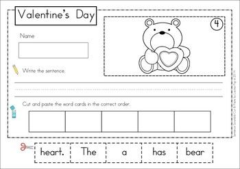 Sentence Scramble with Cut and Paste Worksheets - Valentine's Day Theme. There are 20 sentences to build and includes differentiated worksheets. Fun pocket chart word work activity for Kindergarten and First Grade students! Repinned by SOS Inc. Resources pinterest.com/sostherapy/.