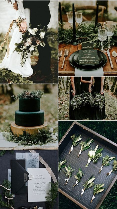 Black Gold Wedding olive and black winter woodsy wedding color ideas - When it comes to the wedding planning part, the first thing couples have to decide is the wedding colors, which helps create an atmosphere and.