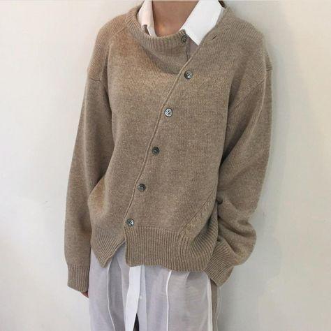 Fashion Irregular Knitwear Slanting Buckle Cardigan – Allinshoe