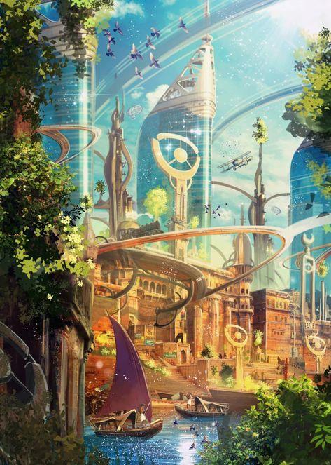 Concept Art Landscape, Fantasy Art Landscapes, Fantasy Artwork, Landscape Art, Fantasy City, Fantasy Places, Fantasy World, Dream Fantasy, Sci Fi Fantasy