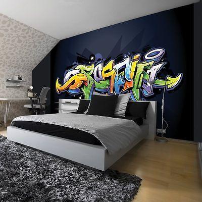 Vlies Fototapete Kinderzimmer bunt Graffiti Steinwand Kunst Abstrakt Junge XXL
