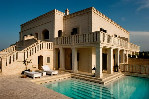 """Borgo Egnazia, Italy / A new concept of hospitality. Built entirely of tufo, a local type of limestone, cut by the skilled hands of tufo masters. Designers got inspirations from Puglia's farms, rural villages, from nature, and from simplicity. Vair (""""real"""" in local dialect) represents a new idea of wellness. Based on a very accurate research of popular Apulian traditions, ancient natural remedies, and the vital and ironic spirit which represents this region. Vair is completely Made in Italy."""