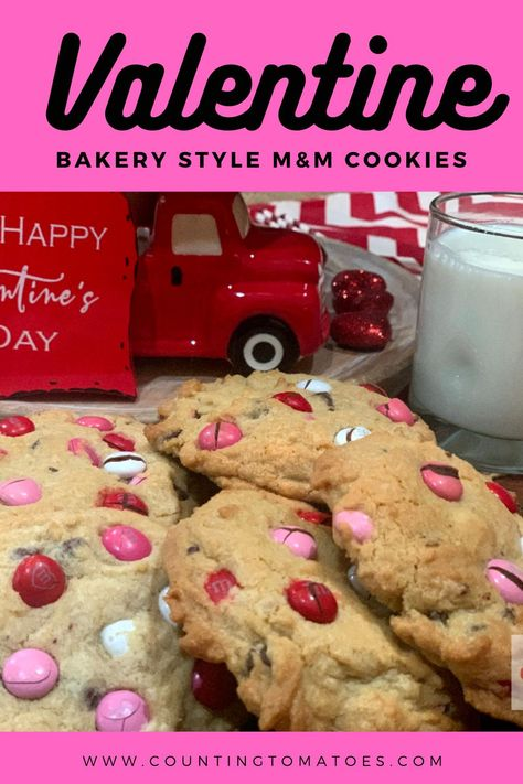 Giant Bakery Style M&M Cookies are a real treat!! Loads of M&M candies and chocolate chips makes these cookies burst with chocolate flavor! These are soft M&M cookies and stay soft for days! #m&mcookies #valentinecookies #valentinedessert #valentinetreat #bakerystylecookies