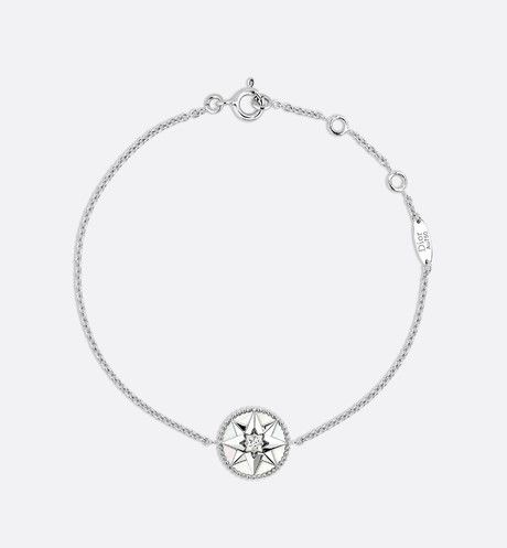 Rose Des Vents Bracelet 18k White Gold Diamond And Mother Of Pearl White Front View Designers Jewelry Collection White Gold Necklace Diamond Jewelry