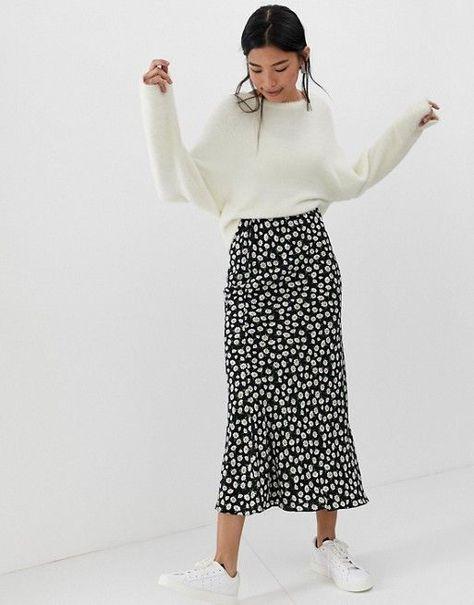ASOS DESIGN daisy print bias cut maxi skirt   ASOS