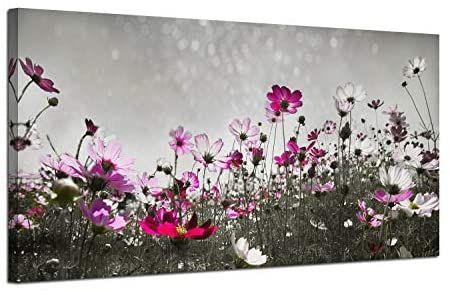 Amazon Com Canvas Wall Art Flower Colorful Painting Prints One Panel Large Size Landscape Picture Grey Colorful Paintings Landscape Pictures Canvas Wall Art