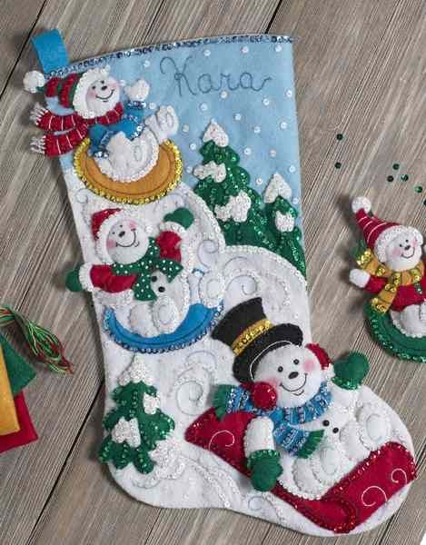 "Bucilla Snowman With Presents ~ 18/"" Felt Christmas Stocking Kit #86864 Frosty"