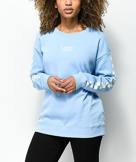 c84f59f50ab Vans Drop V Checker Light Blue Crew Neck Sweatshirt in 2019 ...