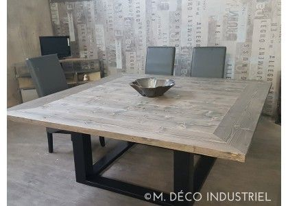 Table Carree M Deco Industriel 1300 Square Dining Room Table Grey Dining Tables Square Kitchen Tables
