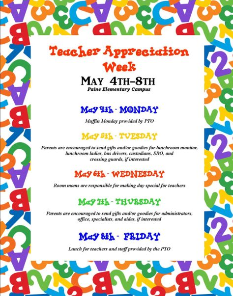 Paine Intermediate Parent Updates: Teacher Appreciation Week!!