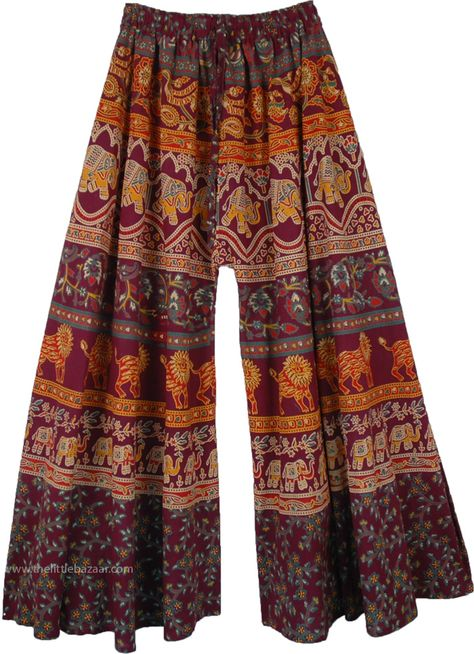 Purple Wide Leg Flared Cotton Palazzo Pants For Women - Purple Wide Leg Flared Cotton Palazzo Pants For Women Source by thelittlebazaar - Cotton Palazzo Pants, Cotton Pants, Printed Palazzo Pants, Skirt Pants, Shorts, Hippie Style, My Style, Yoga Pants Outfit, Gaucho Pants Outfit