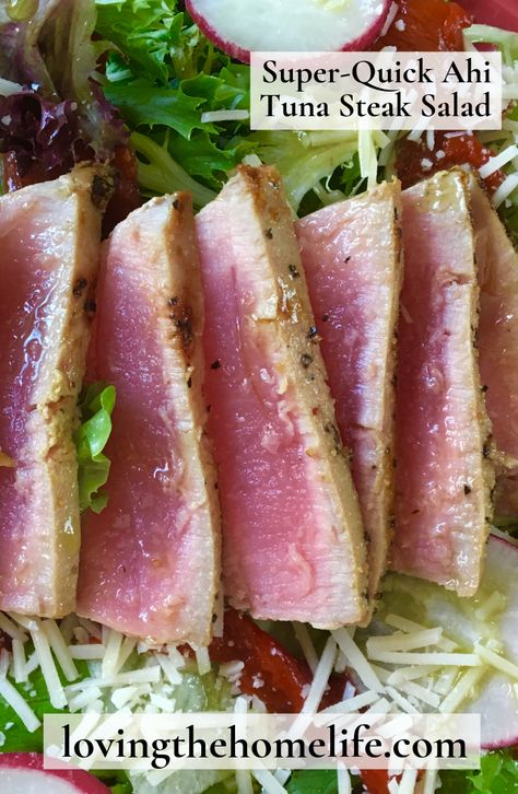 Super-Quick Ahi Tuna Steak Salad  is a protein-packed dish that can be made in 10 minutes. Add a kick to Ahi Tuna Steak Salad with Hot Pepper Vinaigrette Dressing drizzled on top! #ahituna #tunasalad #cleaneating #lowcarb #healthysalad #saladrecipe #healthyeating #healthyrecipe #tunasteak