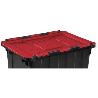 Sterilite 12 Gallon 45 Liter Hinged Lid Industrial Tote Red Lid 12 Pack Storage Tubs Bin Bag Storage Spaces