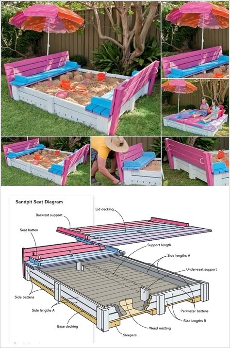 Sandbox With Cover And Benches. I want this for Victoria!!