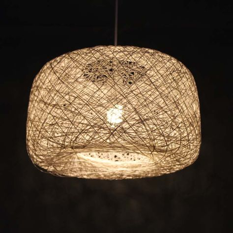 White Colour Hemp Rope Winding Pendant Lamp Handmade Hanging Light by VIWEI on Etsy