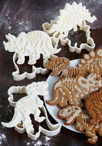 Paleo in Comparison Cookie Cutter Set - Your gang of geeky friends will be bored with plain baked goods, once they discover what you can create with these dinosaur cookie cutters!