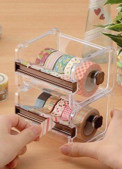 Your place to buy and sell all things handmade Washi tape dispenser Storage Case / Masking Tape Organizer / Washi Tape… Craft Organization, Craft Storage, Washi Tape Storage, Stationary Organization, Cute School Supplies, Craft Supplies, Office Supplies, Deco Tape, Masking Tape Art