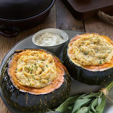 Polenta Stuffed Kabocha Squash Recipe In 2020 Food Recipes