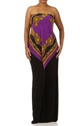 Plus Size Strapless Jumpsuit  size:L,1x,2x,3x  Price:$65.00