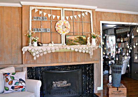 Simple Pastel Spring Mantel Decor - Hello Spring!