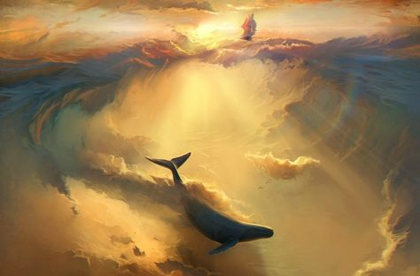 Infinite Dreams by Artem Chebokha, via Behance ----- Love this illustration. Sea and sky illustrations are beautiful. Digital Art Illustration, Dream Illustration, Whale Illustration, Illustration Pictures, Vladimir Kush, Fantasy Kunst, Anime Fantasy, Dream Art, Matte Painting