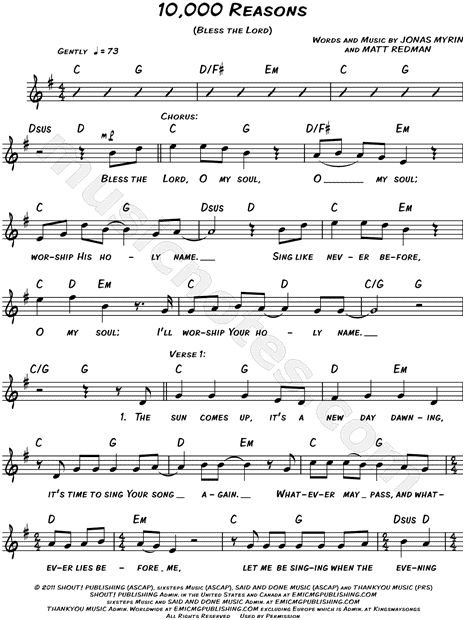 Matt Redman 10 000 Reasons Bless The Lord Sheet Music Leadsheet In G Major Transposable Download Print Saxophone Sheet Music Music Chords Flute Sheet Music
