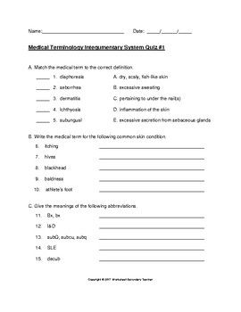 Medical Terminology Integumentary System 2 Quiz Pack Medical Terminology Medical Medical Coding