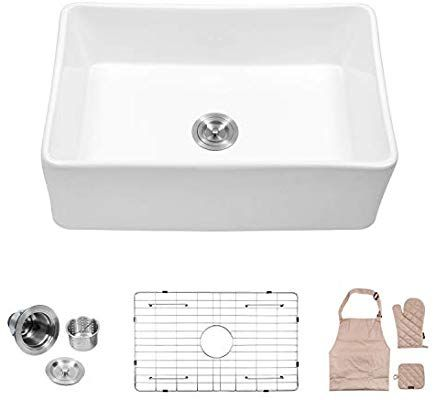 Lordear 30 Inch Farmhouse Sink Single Bowl Fireclay Farmhouse Sink Apron Front Kitchen Sink Apron Front Kitchen Sink Fireclay Farmhouse Sink Farmhouse Sink