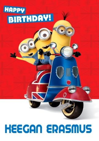 Minions Scooter Happy Birthday Card Funky Pigeon In 2020 Happy Birthday Minions Birthday Wishes For Kids Happy Birthday Signs