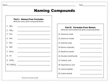 Naming Compounds Worksheet for Review or Assessment | Naming ...