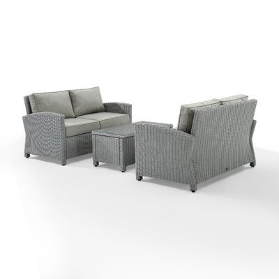 Birch Lane Lawson 3 Piece Rattan Sofa Seating Group With Cushions In 2020 Outdoor Loveseat Rattan Sofa Seating Groups