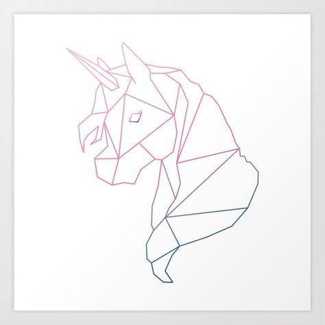 Navy & Pink Geometric Unicorn Art Print by halfpint_jules - X-Small