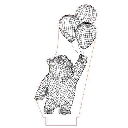 Panda Bear With Balloons 3d Illusion Lamp Plan Vector File For Laser And Cnc 3bee Studio 3d Illusion Lamp 3d Illusions Panda Bear