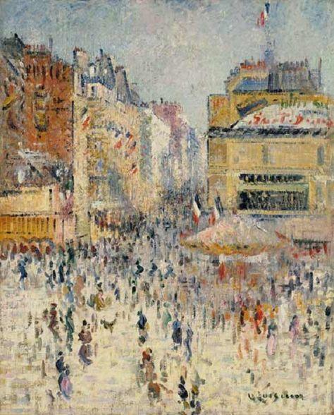 Le 14 Juillet Sur La Rue De Clignancourt A Paris Gustave Loiseau