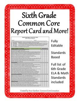 Sixth Grade Report Card Template Common Core Standards Based Grading Editable Standards Based Report Cards Common Core Report Card Comments