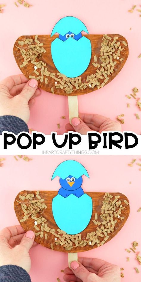 Easy pop up bird craft for toddlers, preschoolers and kids of all ages. Create your paper plate bird craft and then watch as the bird pops up and hatches out of it's egg. Fun spring craft for kids and easy Easter craft for kids. #iheartcraftythings