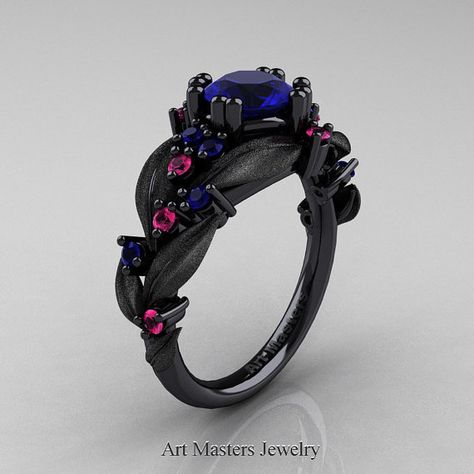 Nature Classic 14K Black Gold 1.0 Ct Blue and Pink Sapphire Leaf and Vine Engagement Ring R340S-14KBGPSBS