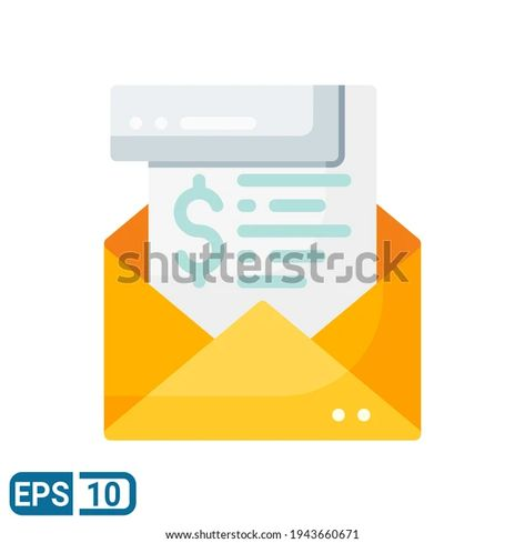 Envelope Money Icon Flat Style Isolated Stock Vector (Royalty Free) 1943660671