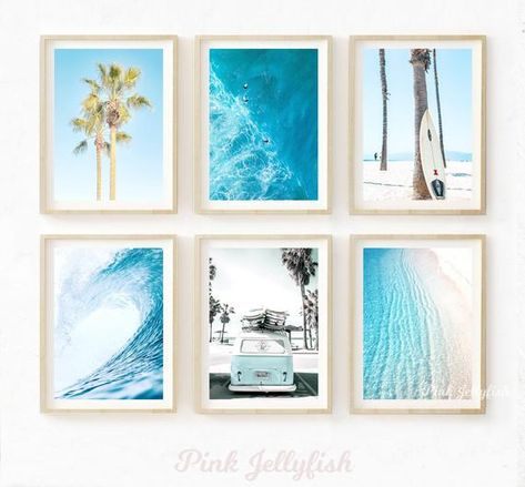 set of 6, beach wall art, printable, teen girl room decor, bathroom wall decor, California, gallery wall set, nautical, blue