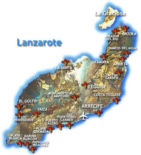 Mapa De Lanzarote Lanzarote Isla De Lanzarote Islas Canarias