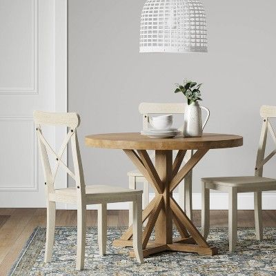 Set Of 2 Litchfield X Back Dining Chair Antique White Threshold Circle Dining Table Round Dining Table Round Kitchen Table