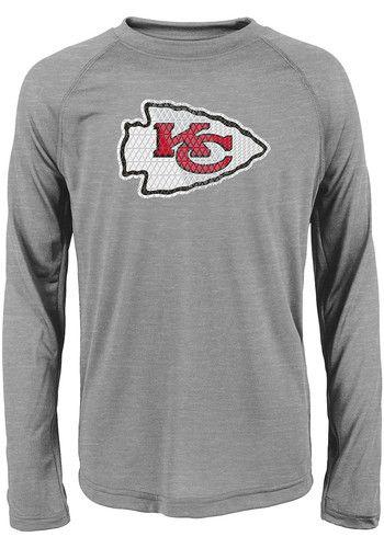 9af799bd Kansas City Chiefs Boys Grey Ex Machina Long Sleeve T-Shirt   NFL ...