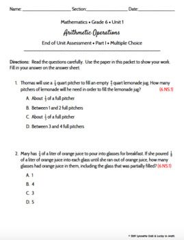 Grade 6   Arithmetic Operations Math Assessment   Test Prep