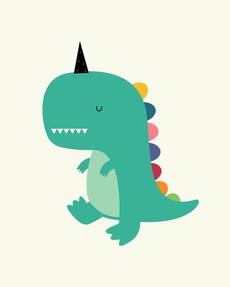 Dinocorn Art Print детские постеры милые рисунки и