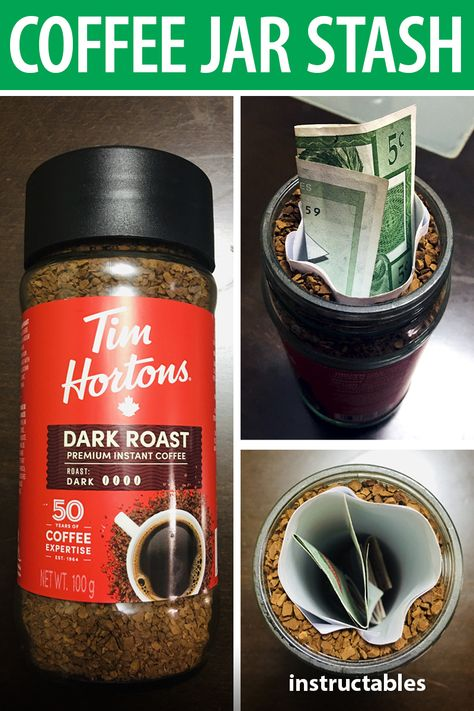 Learn how you can use a coffee jar as a secret stash. #Instructables #hidden #upcycle #security