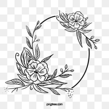 Black Hand Drawn Line Side Wedding Decoration With Encircled Oval Romantic Blooming Flower Border Everlasting Agreement Love Png Transparent Clipart Image An Flower Border How To Draw Hands Clip Art Borders