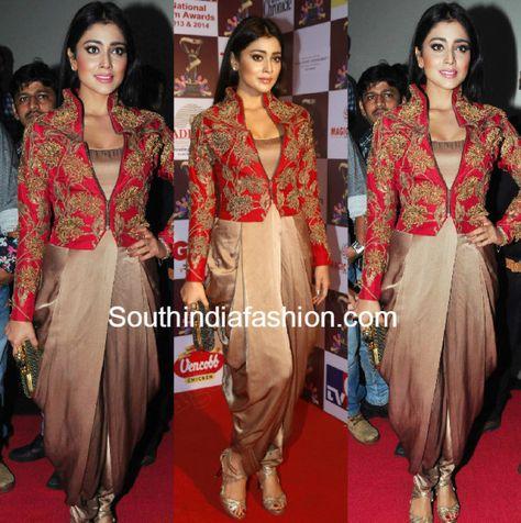 Shriya Saran dhoti style anand kabra dress at TSR Awards 2015