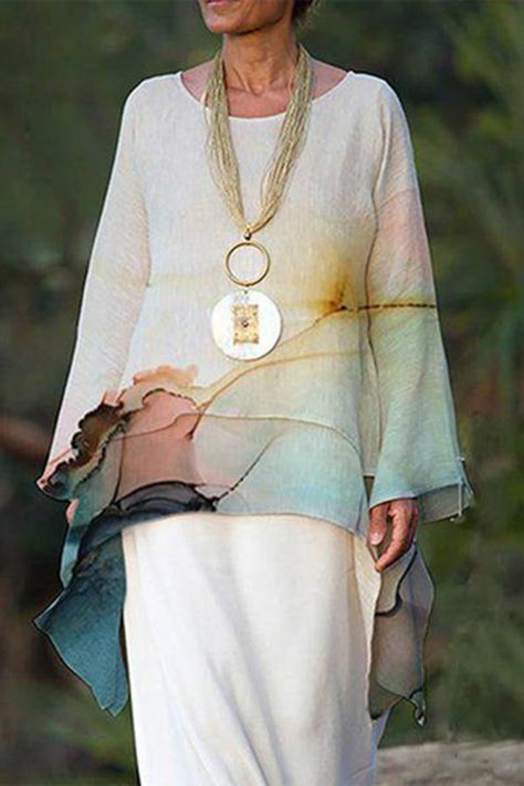 T-Shirts - Paneled Gradient Print Irregular Elegant Blouse